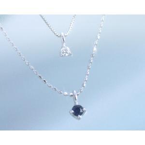 サファイア ネックレス ダイヤモンド 2連ネックレス 10金 K10ホワイトゴールド 9月誕生石|b-ciao