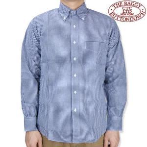 THE BAGGY バギー ギンガムチェック L/S ボタンダウンシャツ ブロードクロス ボタンダウンシャツ 長袖シャツ ネイビー b-e-shop