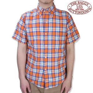THE BAGGY バギー  半袖 マドラスチェック シャツ オレンジベース ボタンダウン 半袖シャツ メンズ MADRAS S/S SHIRTS ORANGE b-e-shop