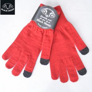 BLACK SHEEP ブラックシープ スマホ対応 ニットグローブ レディース KNIT GLOVE LADY'S 手袋 ウールニットグローブ RED レッド b-e-shop