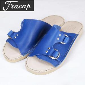 FRACAP フラカップ ダブルリング レザーサンダル R011 DOUBLE RING  LAETHER SANDAL Vacchetta Bulgaro Leather  ロイヤルブルー|b-e-shop