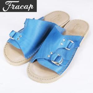 FRACAP フラカップ ダブルリング レザーサンダル R011 DOUBLE RING  LAETHER SANDAL Vacchetta Bulgaro Leather  ターコイズ|b-e-shop