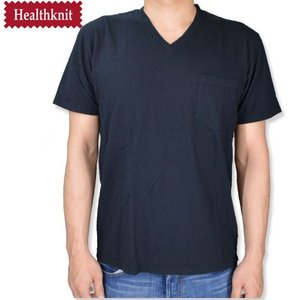 HealthKnit ヘルスニット 後染め Vネック胸ポケットTシャツ V NECK POCKET TEE ブラック|b-e-shop