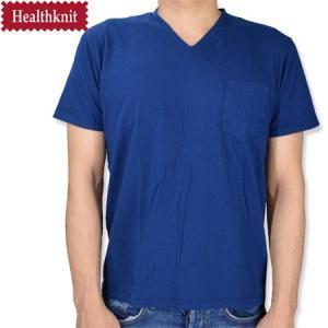 HealthKnit ヘルスニット 後染め Vネック胸ポケットTシャツ V NECK POCKET TEE ホワイト|b-e-shop