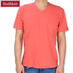 HealthKnit ヘルスニット 後染め Vネック胸ポケットTシャツ V NECK POCKET TEE ローズ レッド|b-e-shop