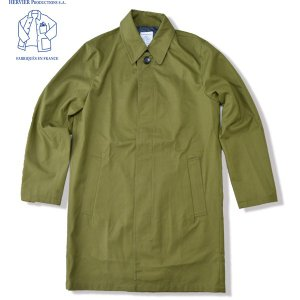 HERVIER PRODUCTIONS S.A. エルヴィエ プロダクションズ  フレンチ エアフォース コート French Airforce Coat ステンカラーコート オリーブグリーン|b-e-shop
