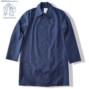 HERVIER PRODUCTIONS S.A. エルヴィエ プロダクションズ ステンカラーコート STAIN COLLAR COAT ネイビー ギャバジンコート|b-e-shop