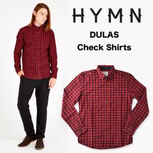 HYMN ヒム DULAS Check Shirts ボタンダウン チェックL/S シャツ レッド/ブラック RED BLACK(送料無料)|b-e-shop