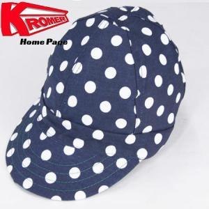 KROMER CAP クローマー キャップ  FAMOUS CAP ワークキャップ アメリカ製 ドット柄 DOT 水玉 ネイビー/ホワイト|b-e-shop
