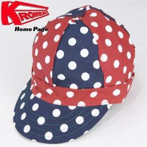 KROMER CAP クローマー キャップ  FAMOUS CAP ワークキャップ アメリカ製 ドット柄 DOT 水玉 ネイビー/レッド|b-e-shop