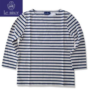 Le minor ルミノア  8分袖バスクシャツ ボーダー カットソー BOATNECK  CUTSAW ナチュラル/ネイビー ECRU/MARINE LADYS b-e-shop