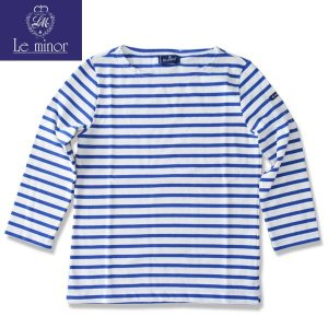 Le minor ルミノア  8分袖バスクシャツ ボーダー カットソー BOATNECK  CUTSAW ホワイト/ブルー BLANC / ROY LADYS b-e-shop