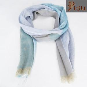Pisu ピス コットン リネンスカーフ  リネンストール COTTON/LINEN SCARF  クローバー ブルー CLOVER BLUE LINEN STOLE|b-e-shop