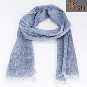 Pisu ピス ソリッド リネンスカーフ  リネンストール SOLID LINEN SCARF  BLUE ブルー LINENSTOLE|b-e-shop