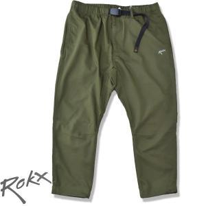 ROKX[ロックス] ライトトレック クロップスパンツ LIGHT TREK CROPS  速乾ストレッチ クライミングパンツ OLIVE オリーブ 8部丈パンツ b-e-shop