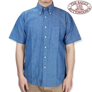 THE BAGGY バギー  ボタンダウン シャンブレーシャツ ブルー ボタンダウン 半袖シャツ メンズ S/S SHIRTS BLUE b-e-shop
