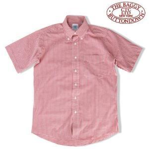 THE BAGGY バギー ギンガムチェック ブロードクロス ボタンダウン 半袖シャツ  GINGHAM CHECK S/S SHIRTS レッド b-e-shop