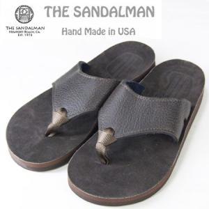 THE SANDALMAN サンダルマン BEACH WIDE レザーサンダル ブラウン CHOCO VIBRAM SOLE|b-e-shop