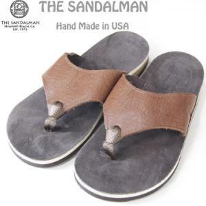 THE SANDALMAN サンダルマン BEACH WIDE レザーサンダル ブラウン TABACCO VIBRAM SOLE|b-e-shop