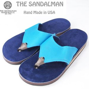 THE SANDALMAN サンダルマン BEACH WIDE レザーサンダル ターコイズ TURQUISE VIBRAM SOLE|b-e-shop