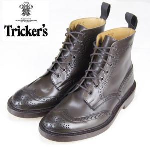 Tricker's トリッカーズ カントリーブーツ エスプレッソ・バーニッシュ レザーソール TRICKER'S COUNTRY BOOTS  ESPRESSOウィングチップ|b-e-shop