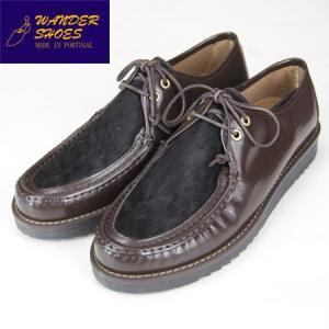 ワンダーシューズ WANDER SHOES ハラコ チャッカブーツ モカシン CHUKKA BOOTS ART5415 ポリッシュレザー ブラウン  モカシン Moccasin BOOTS|b-e-shop