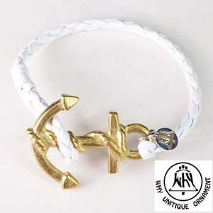 WHY ワイ トップ アンカー レザーブレスレット Anchor On Leather Bracelet ホワイト|b-e-shop