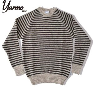 Yarmo ヤーモ ブリティッシュウールボーダーニットプルオーバー Fishermans Jumper Skiddaw stripe ベージュ/ブラウン (送料無料)|b-e-shop