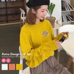 韓国 ファッション tシャツ 長袖 レディース ロンt カジュアル レトロ クラシック オルチャンフ...