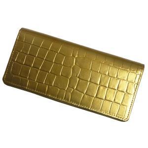 【送料無料】長財布 ワニ型押しゴールド無双長財布 101214 財布 サイフ 牛革使用 日本製|b-house