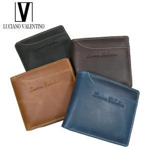<送料無料>LUCIANO VALENTINO ルチアーノバレンチノ 牛革 本革 ウォレット 2つ折財布 LUV-2004(BK/BR/CA/NV)4色