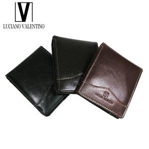 <送料無料>LUCIANO VALENTINO ルチアーノバレンチノ 牛革 本革 ウォレット 2つ折財布 小銭入れ無し LUV-6004(BK/LBR/DBR)3色|b-house