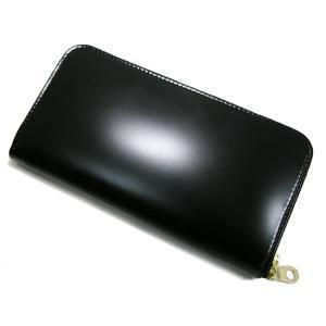 【送料無料】コードバン ラウンドファスナー長財布 ブラック 日本製|b-house