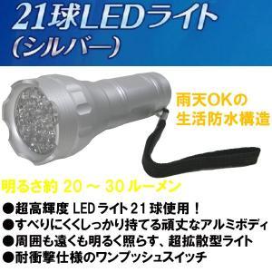 コンパクトで持ち運びに便利な21球LEDライト!WJ-418 シルバー|b-house