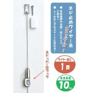 壁付け ワイヤー フック ネジ止め ワイヤー吊 ストッパー付 M-321