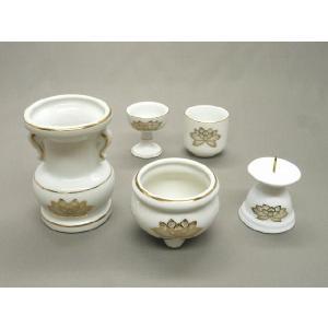 ■ミニ仏壇用や小型仏壇に最適な仏具セットです ●白磁5具足 ・仏器 巾41mm 高さ48mm ・湯呑...