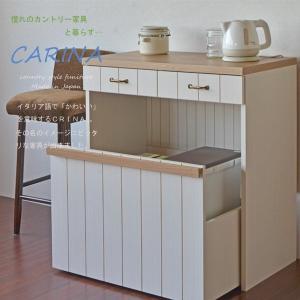 キッチンカウンター ゴミ箱収納 フレンチカントリー風家具 カリーナseries トロッコ収納付き まとめてコンパクトに収納出来る 日本製の写真