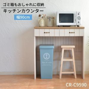 キッチンカウンター ゴミ箱収納 フレンチカントリー風家具 カリーナseries  まとめてコンパクトに収納出来る 日本製の写真