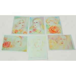 渡邊裕美 薔薇と女性詩画 私製ポストカード6枚セット|b-shopping