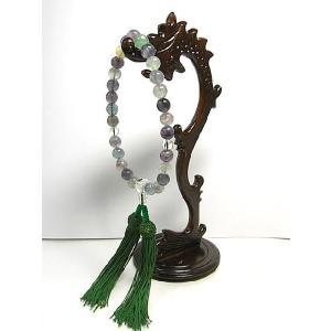 数珠 フローライトと水晶の念珠 男女共用 仏具 仏教|b-soft