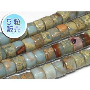 インペリアルジャスパー ライトブルー 約8×5mm 5粒販売 パワーストーン ビーズ ボタン型  天然石染色|b-soft