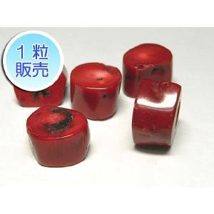 サンゴビーズ 真紅 約11×18mm 1粒販売 パワーストーン ビーズ 枝輪切り型  珊瑚染色 b-soft