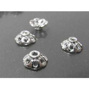 チベタン 座金 約8mm シンプルフラワー 古代銀  10個セット|b-soft