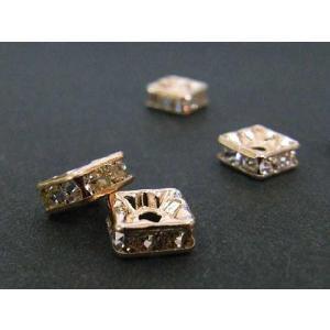 ロンデル アクセサリーパーツ 四角型 ピンクゴールド 6mm 10個入り 四角ロンデル b-soft