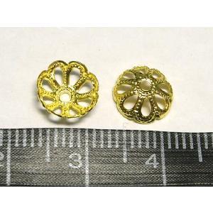 座金 ビーズキャップ ゴールド 約8mm  10個入り|b-soft