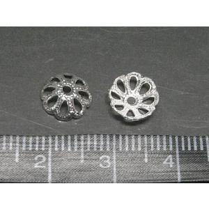 座金 ビーズキャップ 古代銀 約7mm 10個入り|b-soft