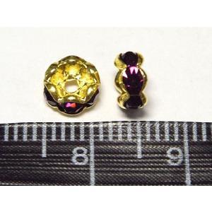 波ロンデル アクセサリーパーツ カラフルタイプ  ゴールド×アメジストカラー  約6mm 10個セット b-soft