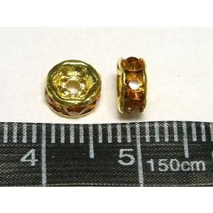 平ロンデル アクセサリーパーツ カラフルタイプ  ゴールド×トパーズカラー  約6mm  10個入り b-soft