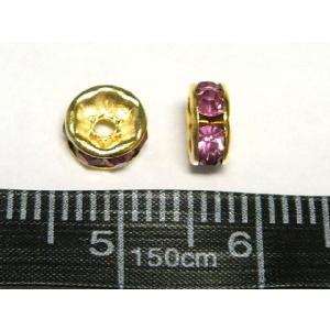 平ロンデル アクセサリーパーツ カラフルタイプ  ゴールド×ローズカラー  約6mm  10個入り|b-soft