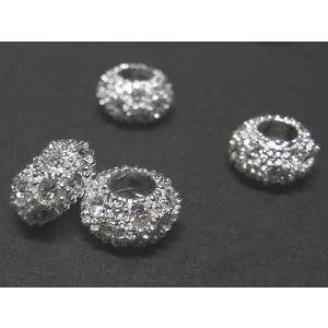 スペーサー アクセサリーパーツ ゴージャス ラインストーン 古代銀  2個セット|b-soft